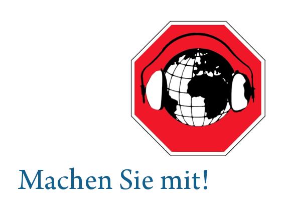 """Logo zum Tag gegen Lärm 2017 - Weltkugel mit Kapselgehörschützer und dem Schriftzug """"Machen Sie mit"""""""